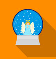 christmas snow globe with an angel icon in flat vector image vector image