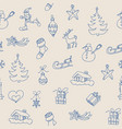christmas symbols seamless pattern outline icons vector image vector image