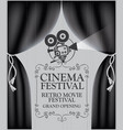 cinema poster with black curtains and camera vector image