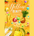 color diet food with yellow fruit and vegetables vector image