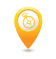 compass icon on map pointer yellow vector image vector image