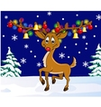deer with christmas lamp vector image vector image