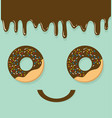 donut top view of face vector image