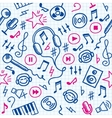 doodle music pattern vector image vector image