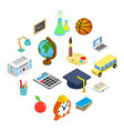 education isometric 3d icons set vector image vector image