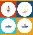 flat icon vessel set of transport ship delivery vector image vector image