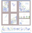 Floral spring templates with cute blue flowers vector image
