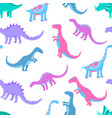 funny hand drawn dinosaurs seamless pattern for vector image