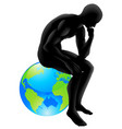 globe thinker concept vector image vector image