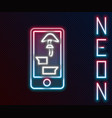 glowing neon line buying drugs online on mobile vector image vector image
