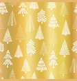 gold foil christmas tree seamless pattern vector image