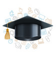 graduation cap and education symbols vector image vector image