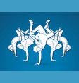 group of people dancing street dance action vector image vector image