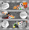 halloween banners with flat stickers vector image