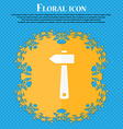 hammer icon Floral flat design on a blue abstract vector image