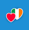 Irish flag in the shape of heart vector image