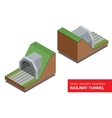 isometric of railway tunnel vector image