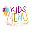 kids organic food cafe special menu for children vector image vector image