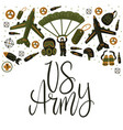 military and army flat hand drawn card vector image