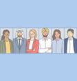 multiracial business people set concept vector image