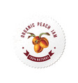 organic peach jam round emblem vector image vector image