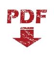 Red grunge pdf download logo vector image vector image