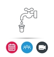 Save water icon Crane with drop sign vector image vector image