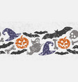 seamless halloween border with scary symbols vector image