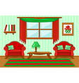 set cartoon cushioned red and green furniture vector image vector image