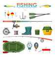 set isolated fishing items or equipment rod vector image