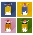 Set of flat icons with long shadow Santa in vector image vector image