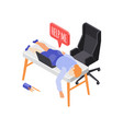 sleeping on workplace composition vector image