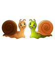 snails cartoon in two colours vector image