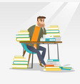 student sitting at the table with piles of books vector image vector image