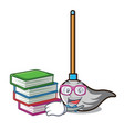 student with book mop mascot cartoon style vector image vector image