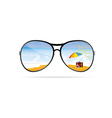 sunglass with beach art vector image vector image