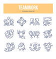 teamwork doodle icons vector image
