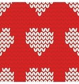 Tile knitting pattern with white hearts on red vector image