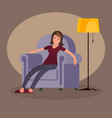 tired woman sitting in an easy chair vector image vector image