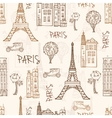 Vintage Brown Paris Streets Travel Seamless vector image