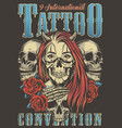 vintage tattoo convention advertising poster vector image vector image