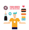young man and fast food icons set vector image vector image