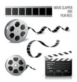 movie clapper and film reel vector image