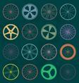 Retro Style Bike Wheel Silhouettes vector image