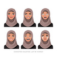 arab women character set of emotions vector image vector image