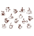 Assorted brown cups of hot coffee vector image vector image