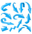 blue 3d shiny arrows set of bent icons vector image vector image