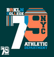 brooklyn nyc college t-shirt print design vector image vector image