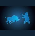 bull and bear hexagonal stock market blue vector image