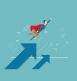 businessman flying with arrow growth business vector image